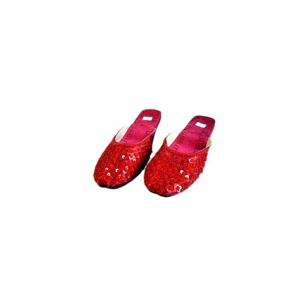 Orientalische, Indische Pantoletten Schuhe mit Pailletten in Karminrot