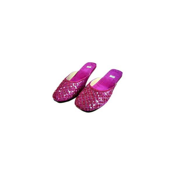 Orientalische, Indische Pantoletten Schuhe mit Pailletten in Dunkelviolett