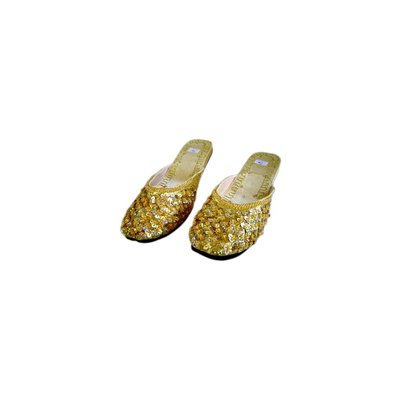 Orient-Pantolette mit Pailletten in Goldgelb