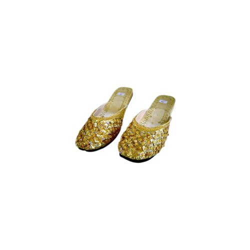 Orientalische, indische Pantoletten Schuhe - Goldgelb