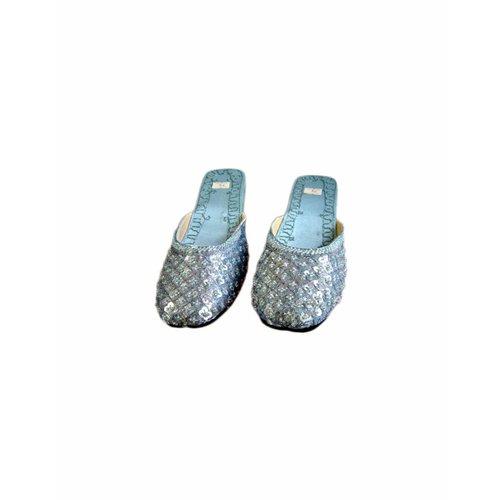 Orientalische, indische Pantoletten Schuhe - Blaugrau