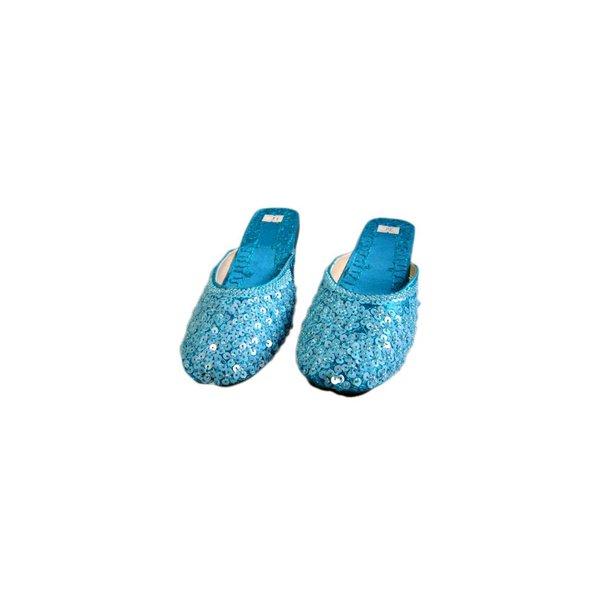 Orientalische, Indische Pantoletten Schuhe mit Pailletten in Türkisblau