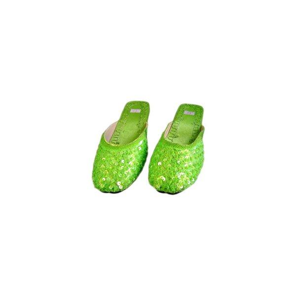 Orientalische, Indische Pantoletten Schuhe mit Pailletten in Lindgrün