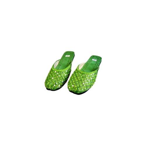 Orientalische, indische Pantoletten Schuhe - Grün
