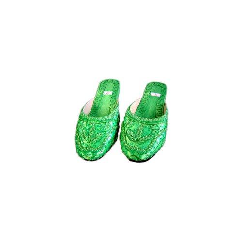 Orientalische, indische Pantoletten Schuhe Grün