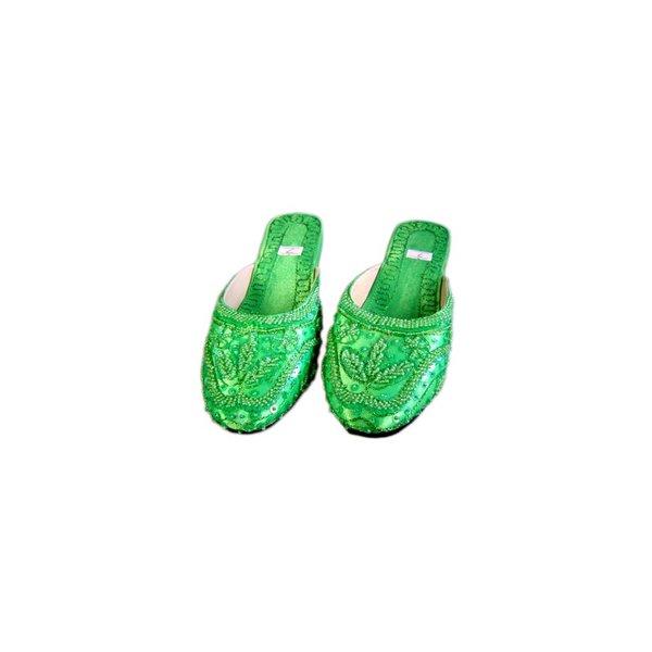 Orientalische, Indische Pantoletten Schuhe mit Pailletten in Grün