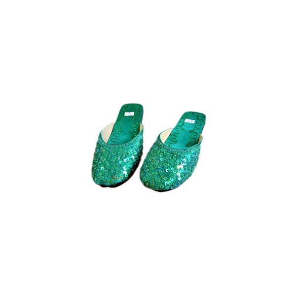 Orientalische, Indische Pantoletten Schuhe mit Pailletten in Türkisgrün