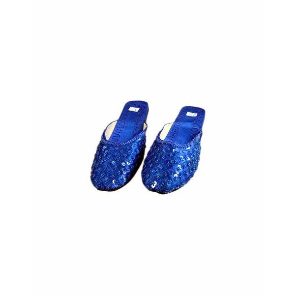 Orientalische, Indische Pantoletten Schuhe mit Pailletten in Blau
