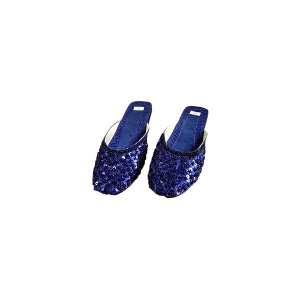Orientalische, indische Pantoletten Schuhe mit Pailletten in Dunkelblau