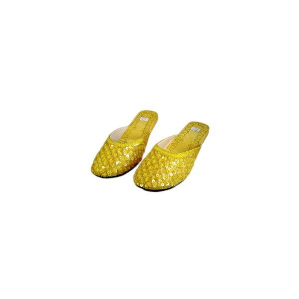Orientalische, Indische Pantoletten Schuhe mit Pailletten in Gelb