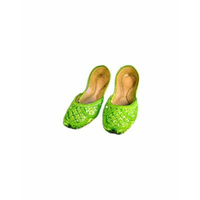Oriental sequined ballerina shoes made of leather - Green