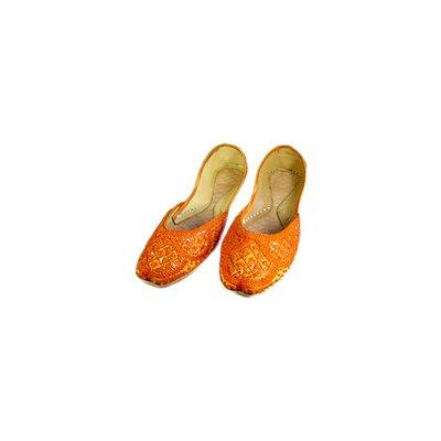 Orientalische Pailletten Ballerina Schuhe aus Leder - Orange