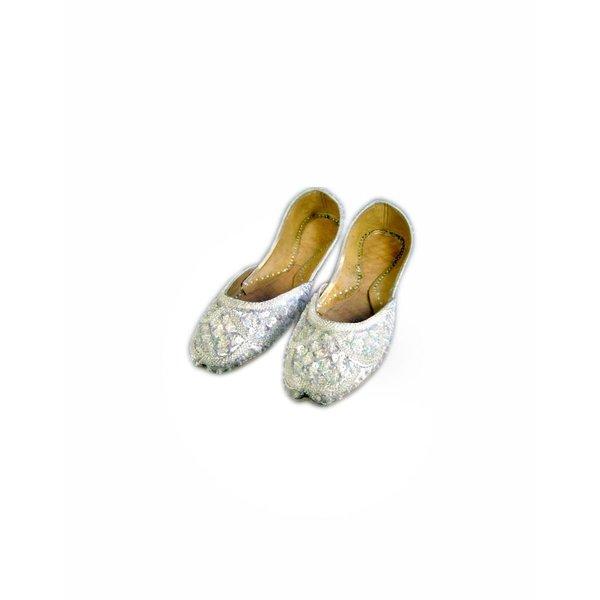 Orientalische, indische Pailletten Ballerinas Schuhe aus Leder - Weiss