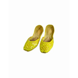 Sequins Ballerina Leather Shoes - Yellow