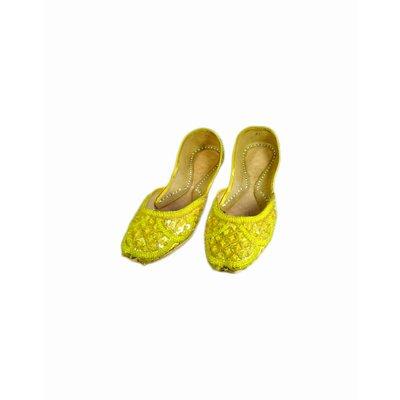 Orientalische Pailletten Ballerina Schuhe aus Leder - Gelb