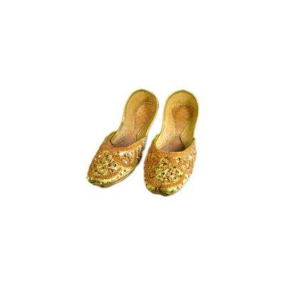 Orientalische Pailletten Ballerina Schuhe aus Leder - Gelbgold