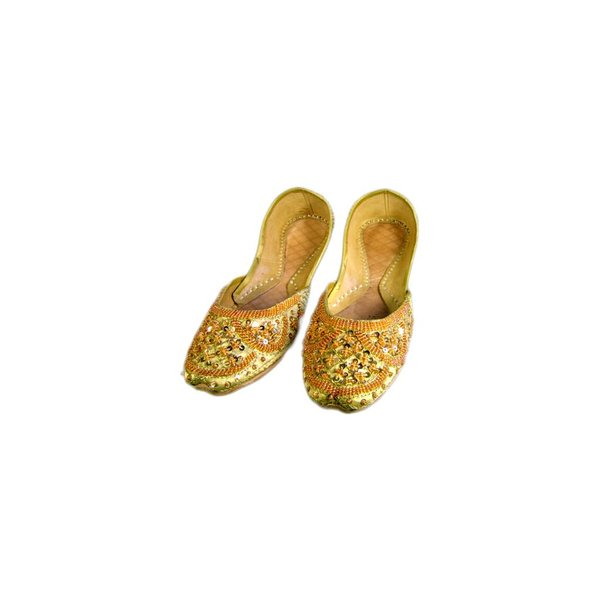 Oriental sequined ballerina shoes made of leather in Golden Yellow
