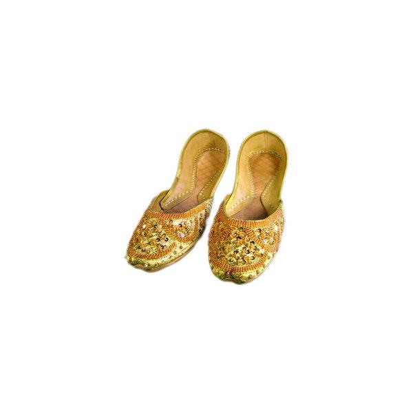 Orientalische, Indische Pailletten Ballerinas Schuhe aus Leder - Gelbgold