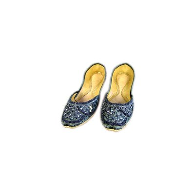 Orientalische Pailletten Ballerina Schuhe aus Leder - Dunkelgrau