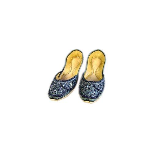Sequins Ballerina Leather Shoes - Dark gray