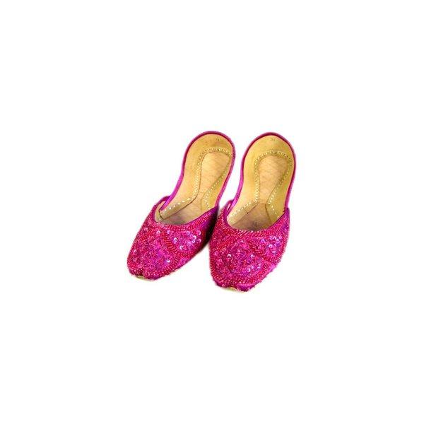 Orientalische, Indische Pailletten Ballerina Schuhe aus Leder - Pinkviolett