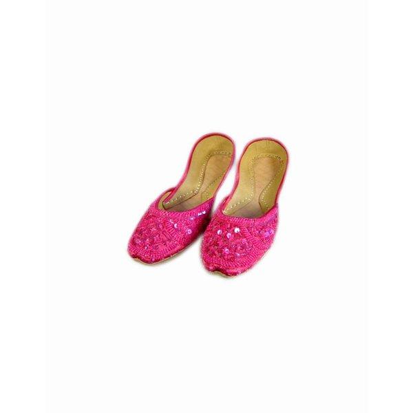 Orientalische, indische Pailletten Ballerinas Schuhe aus Leder - Pink