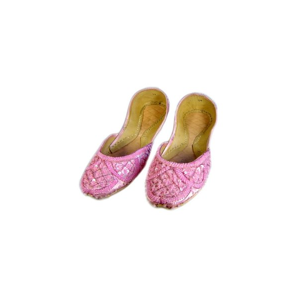 Oriental sequined ballerina shoes made of leather in Light Pink