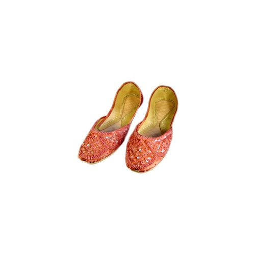 Sequins Ballerina Leather Shoes - Salmon Red