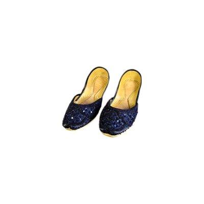 Orientalische Pailletten Ballerina Schuhe aus Leder - Dunkelblau