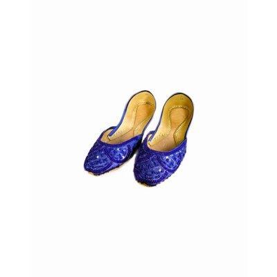Orientalische Pailletten Ballerina Schuhe aus Leder - Blau