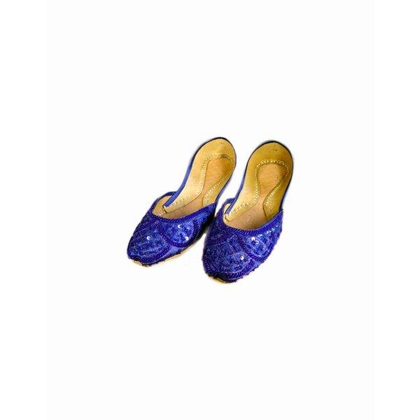 Orientalische, Indische Pailletten Ballerina Schuhe aus Leder - Blau