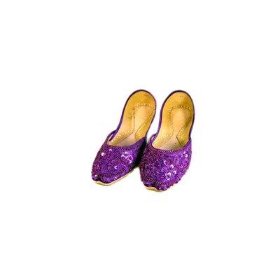 Orientalische Pailletten Ballerina Schuhe aus Leder - Violett