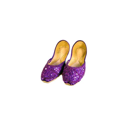 Sequins Ballerina Leather Shoes - Violet
