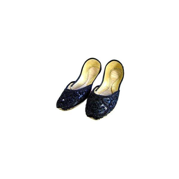 Orientalische, indische Pailletten Ballerina Schuhe aus Leder - Schwarz