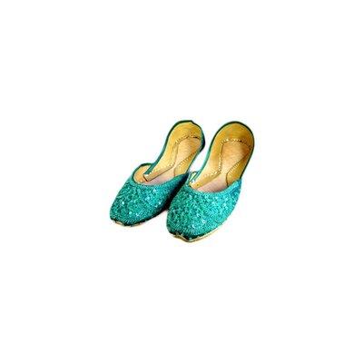 Orientalische Pailletten Ballerina Schuhe aus Leder - Grün