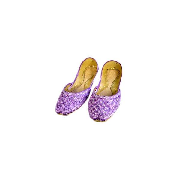 Orientalische, indische Pailletten Ballerinas Schuhe aus Leder - Zartviolett