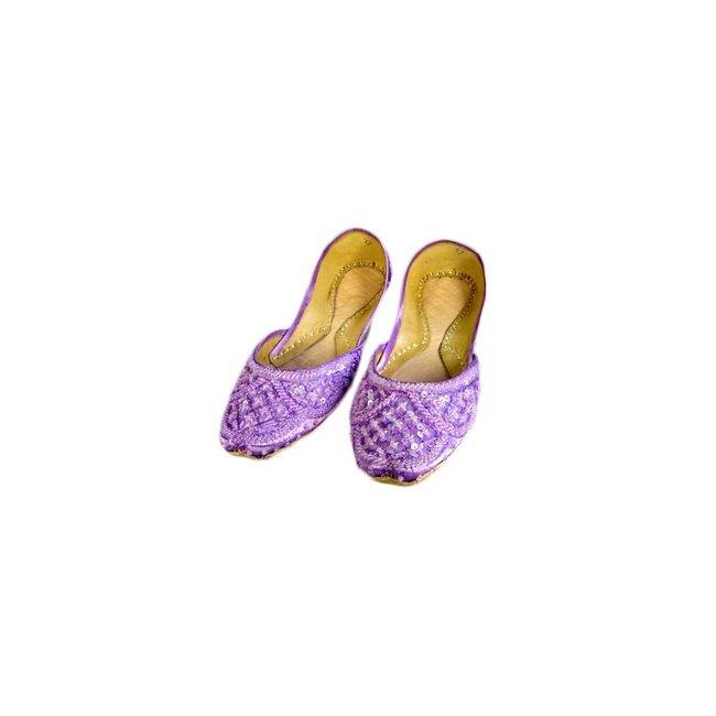Indische Ballerinas Schuhe aus Leder - Zartviolett