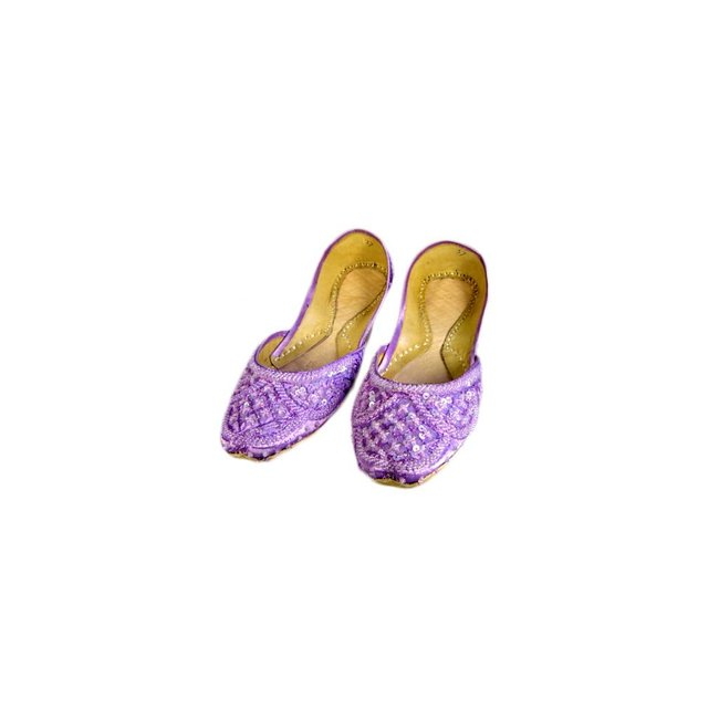 Sequins Ballerina Leather Shoes - Light Violet