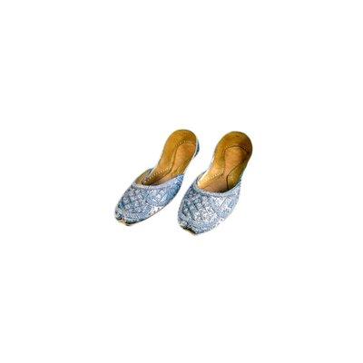 Orientalische Pailletten Ballerina Schuhe aus Leder - Grau