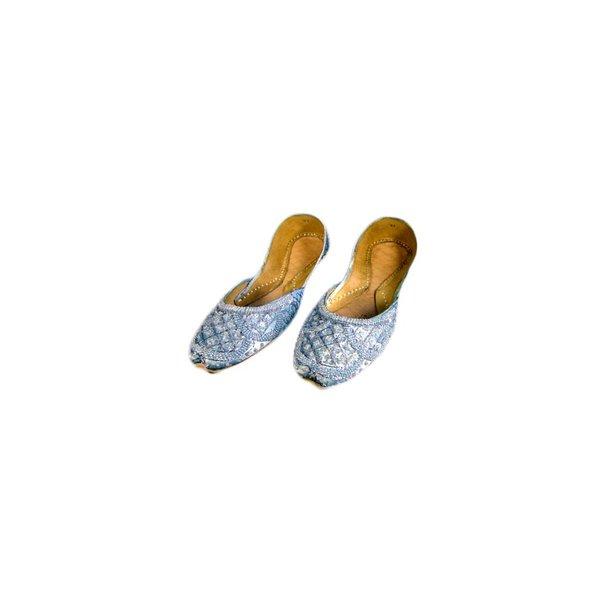 Orientalische, Indische Pailletten Ballerina Schuhe aus Leder - Grau