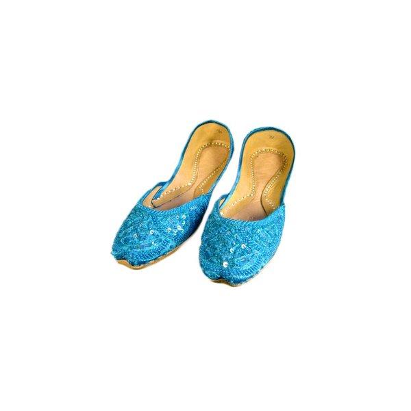 Orientalische, Indische Pailletten Ballerinas Schuhe aus Leder - Türkis