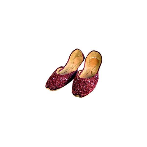 Orientalische, Indische Pailletten Ballerinas Schuhe aus Leder - Dunkelrot