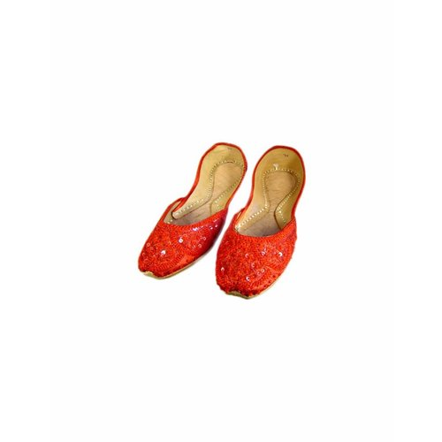 Sequins Ballerina Leather Shoes - Red