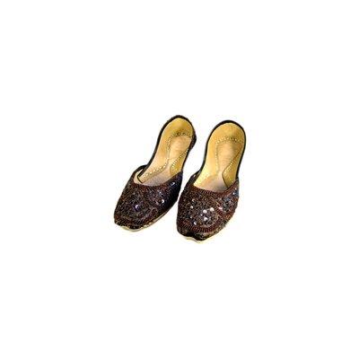 Orientalische Pailletten Ballerina Schuhe aus Leder - Dunkelbraun