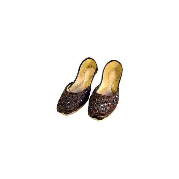 Orientalische, orientalische Pailletten Ballerinas Schuhe aus Leder - Dunkelbraun