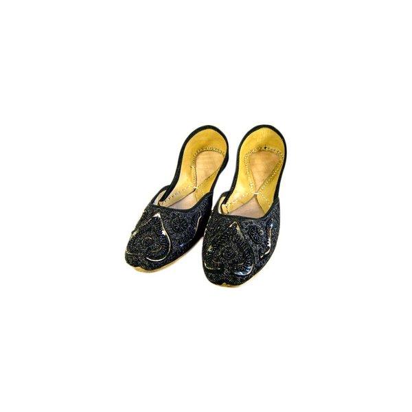 Orientalische, Indische Perlen Ballerinas Schuhe aus Leder - Nousheen