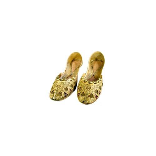 Indische Pailletten Ballerinas Schuhe aus Leder - Shazaadi