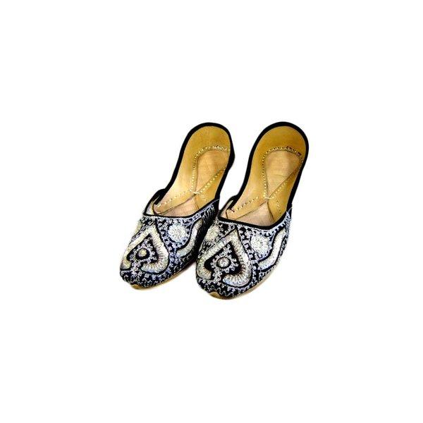 Orientalische Indische Ballerinas Schuhe aus Leder - Silver Queen