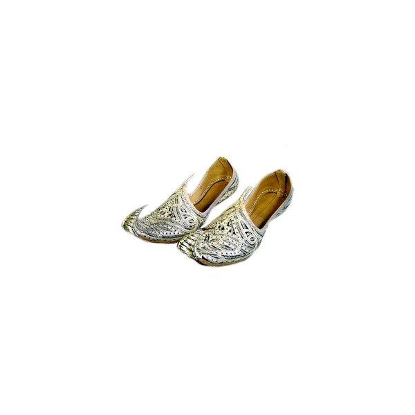 Orientalische, indische Khussa Schuhe Damen mit Stickerei - Gold-Schwarz