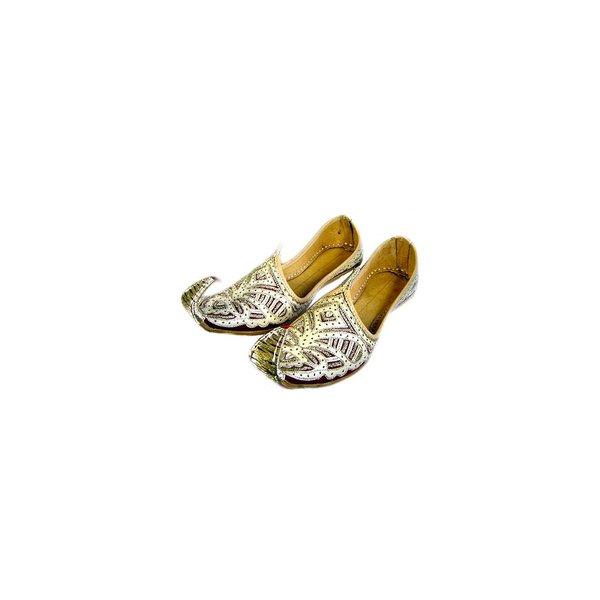 Indische, orientalische Khussa Schuhe Damen mit Stickerei - Gold-Rot